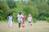 Preschoolers Playing Soccer