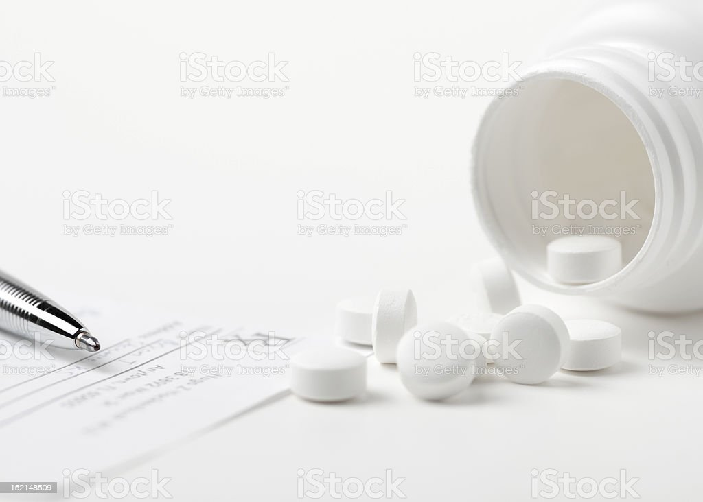 Prescription and Pills - High Key stock photo