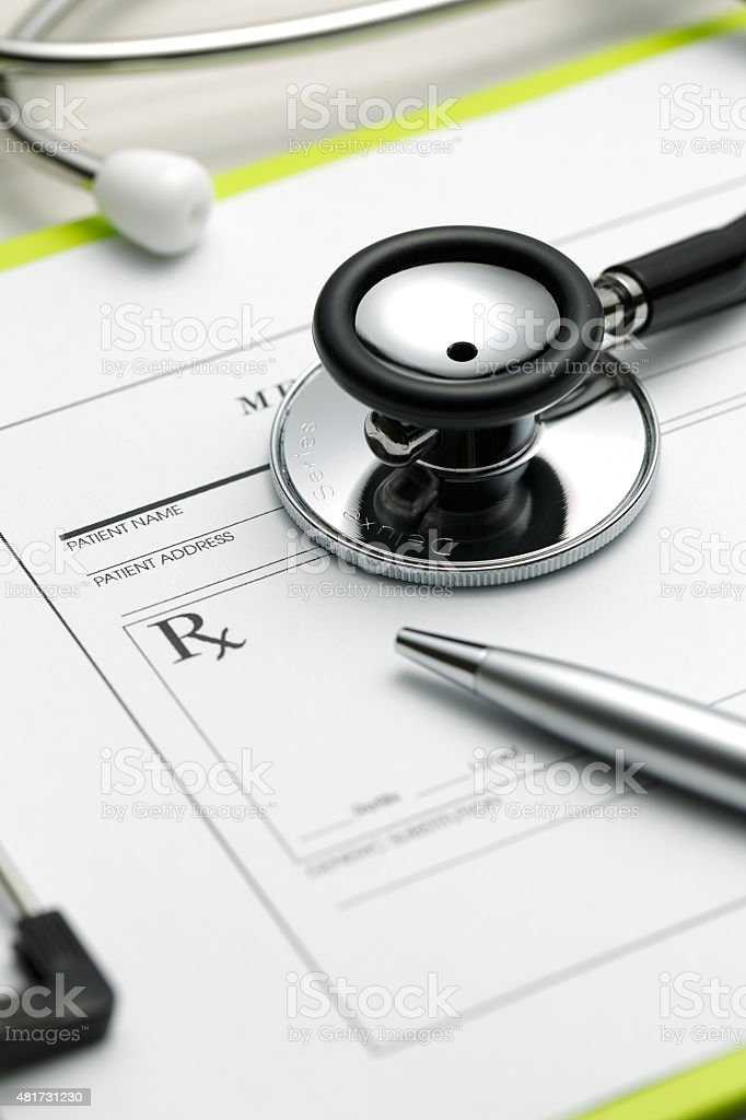 Prescription and stethoscope. stock photo