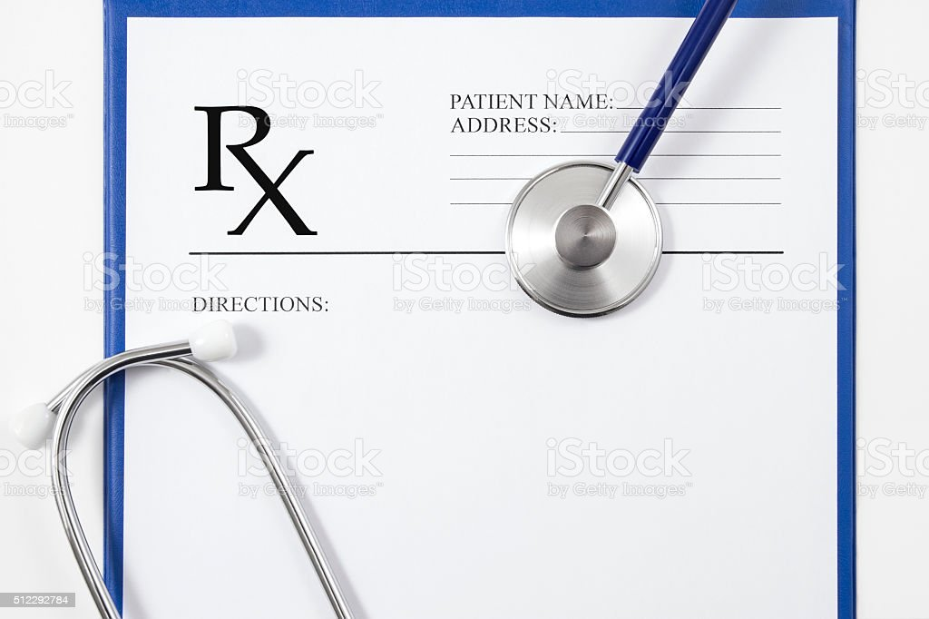 RX Prescription and Stethoscope stock photo