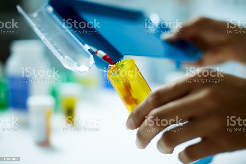 Prescription Being Filled Closeup stock photo