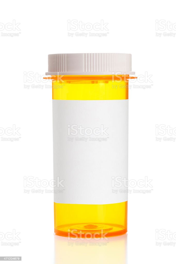 Prescription Bottle With Blank Label and Standard Cap stock photo