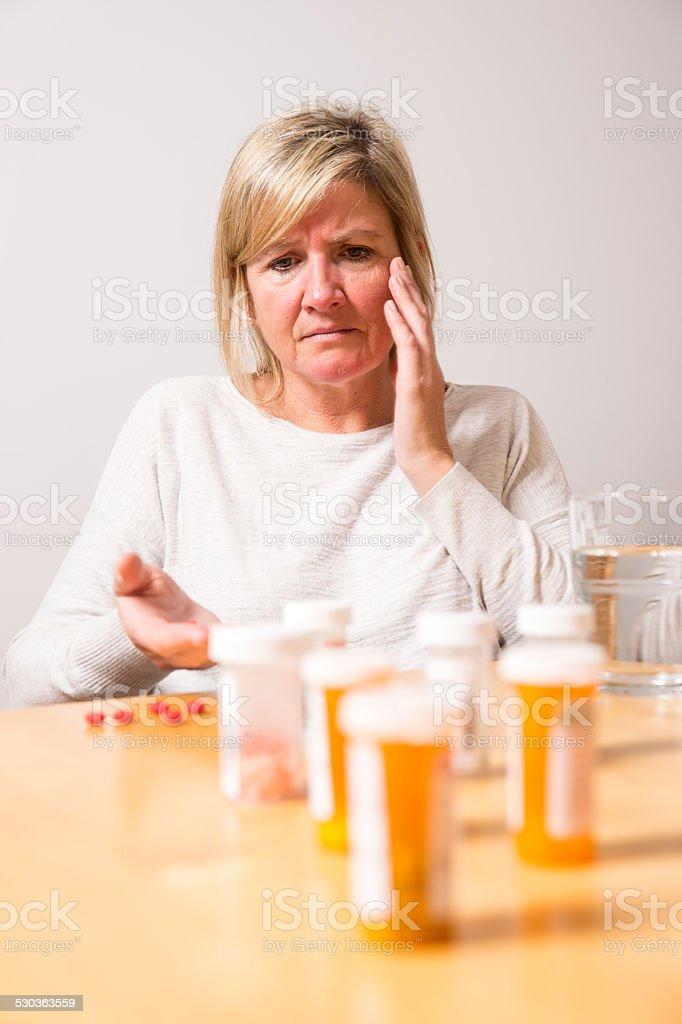 Prescription drug addiction, self medication. stock photo