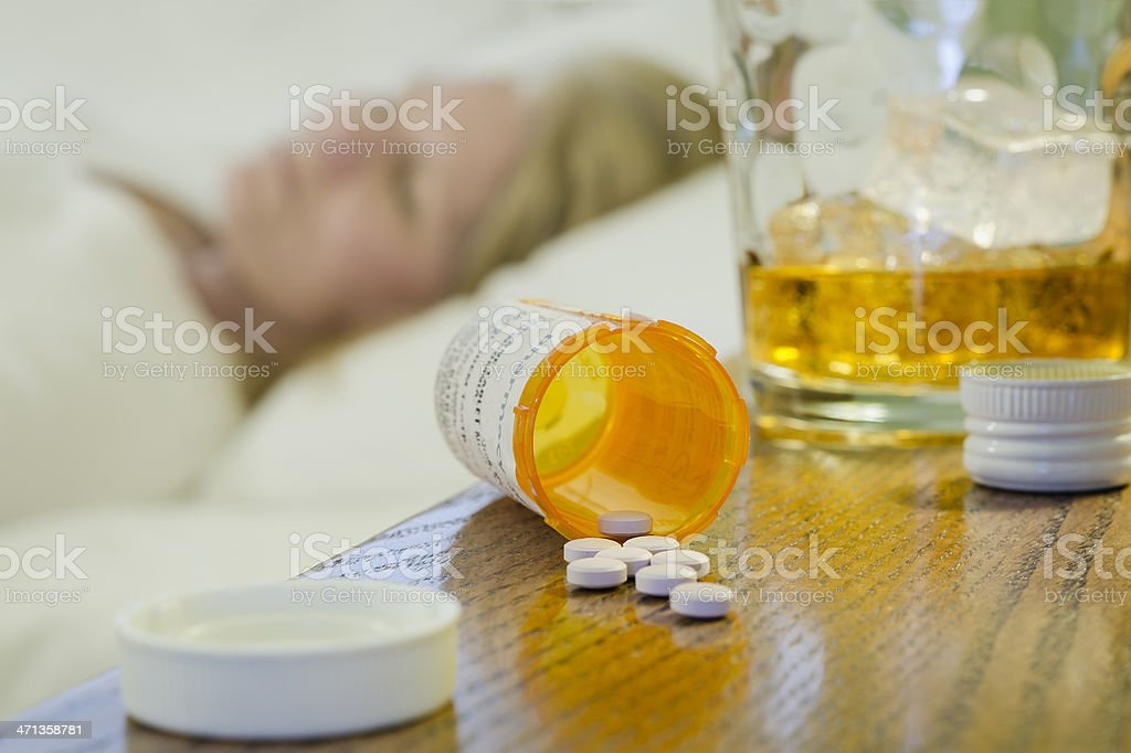 Prescription Drug and Alcohol Abuse Horizontal stock photo