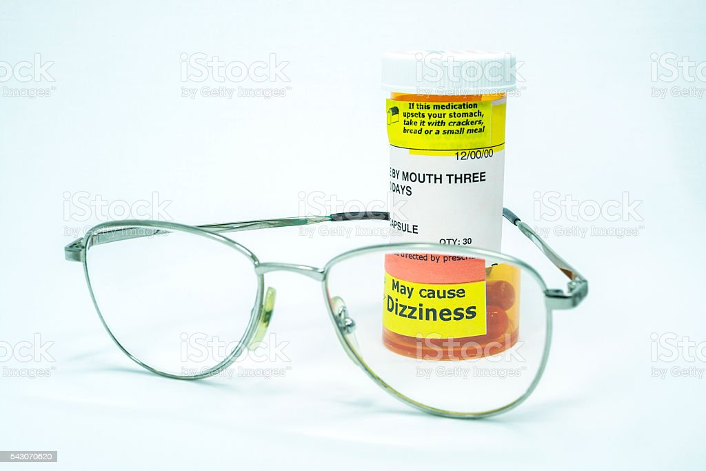 Prescription Drug Medication Capsules May Cause Dizziness Eyeglasses Magnification stock photo