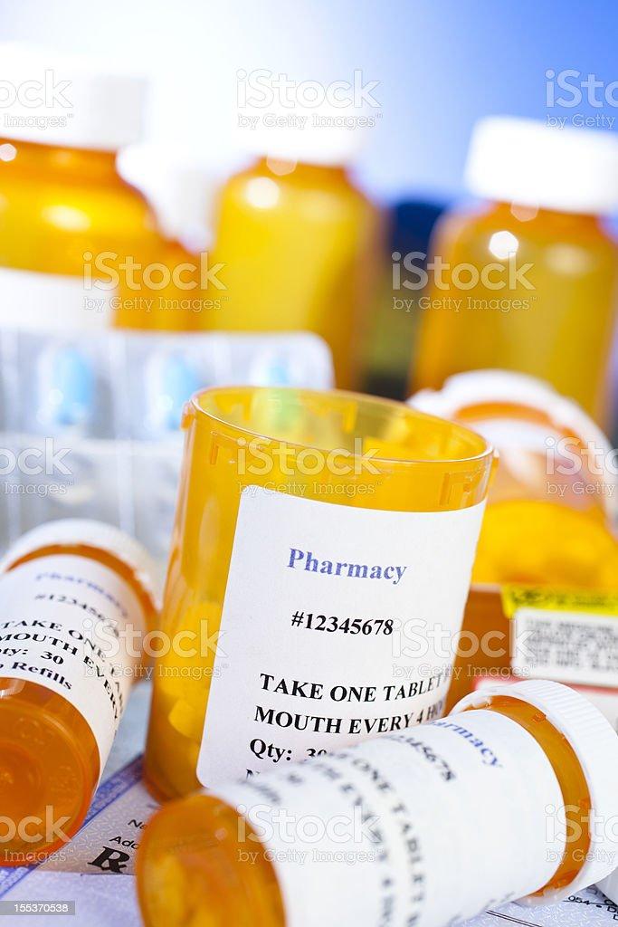 Prescription drugs, medicine, medications. Nobody. Bottles. stock photo