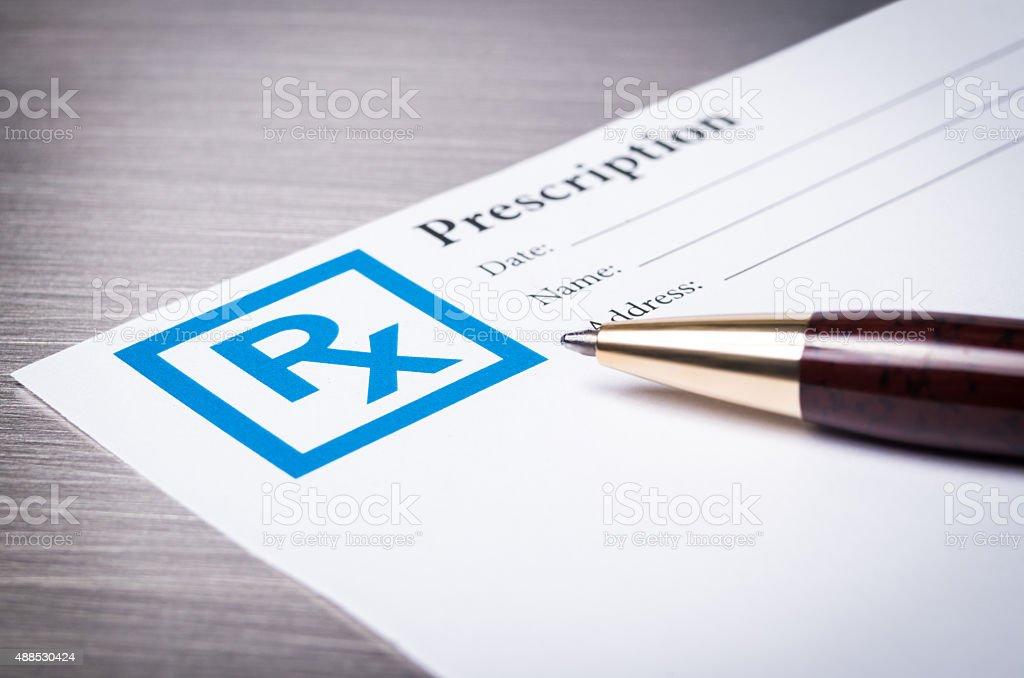 Prescription form close-up stock photo