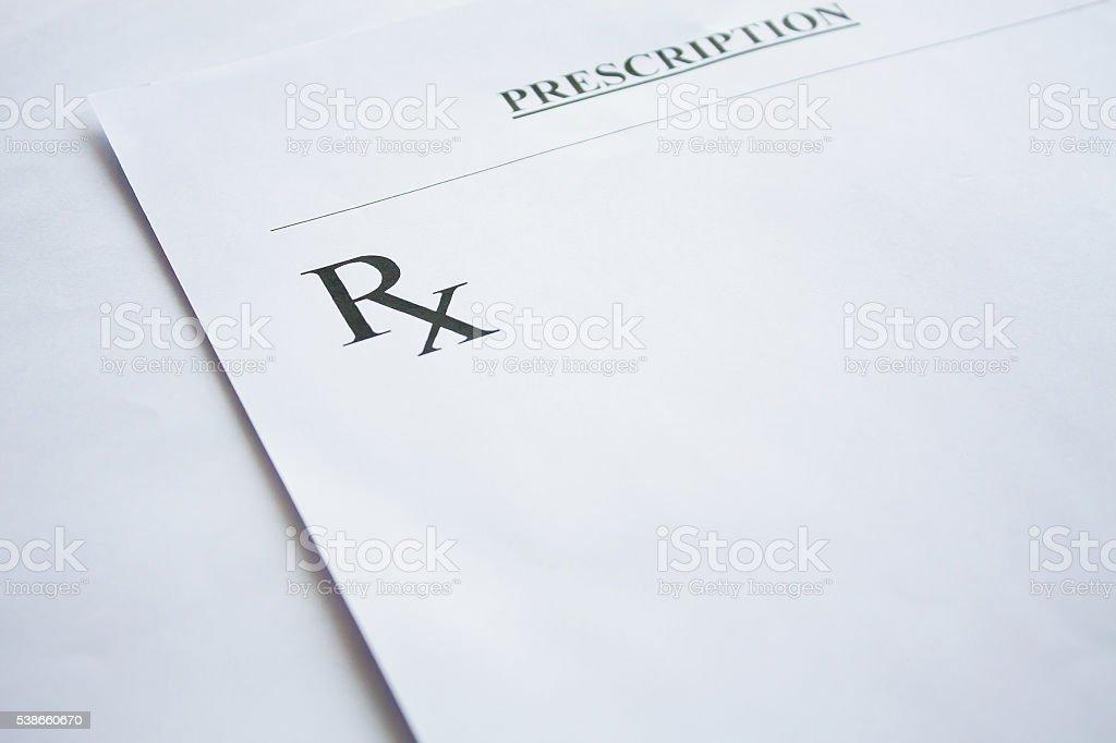 RX prescription form on white background stock photo