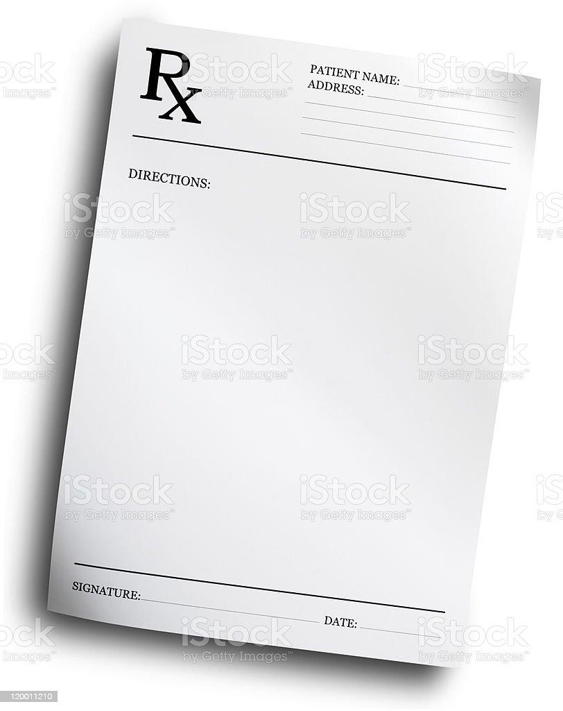 RX prescription form stock photo