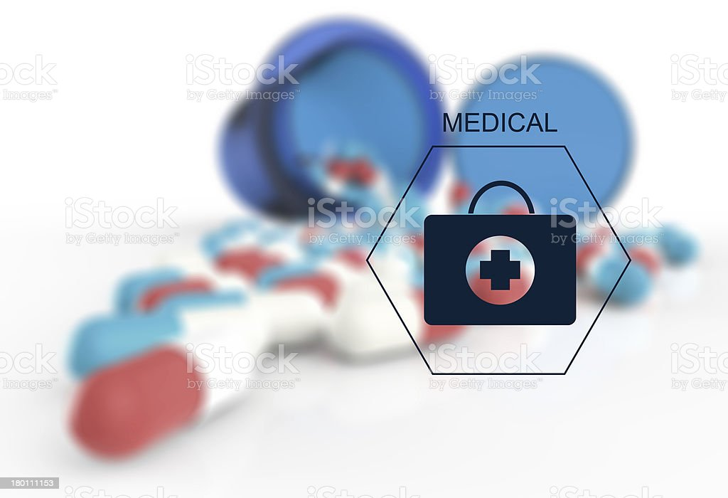 prescription graphic and medical capsules royalty-free stock photo