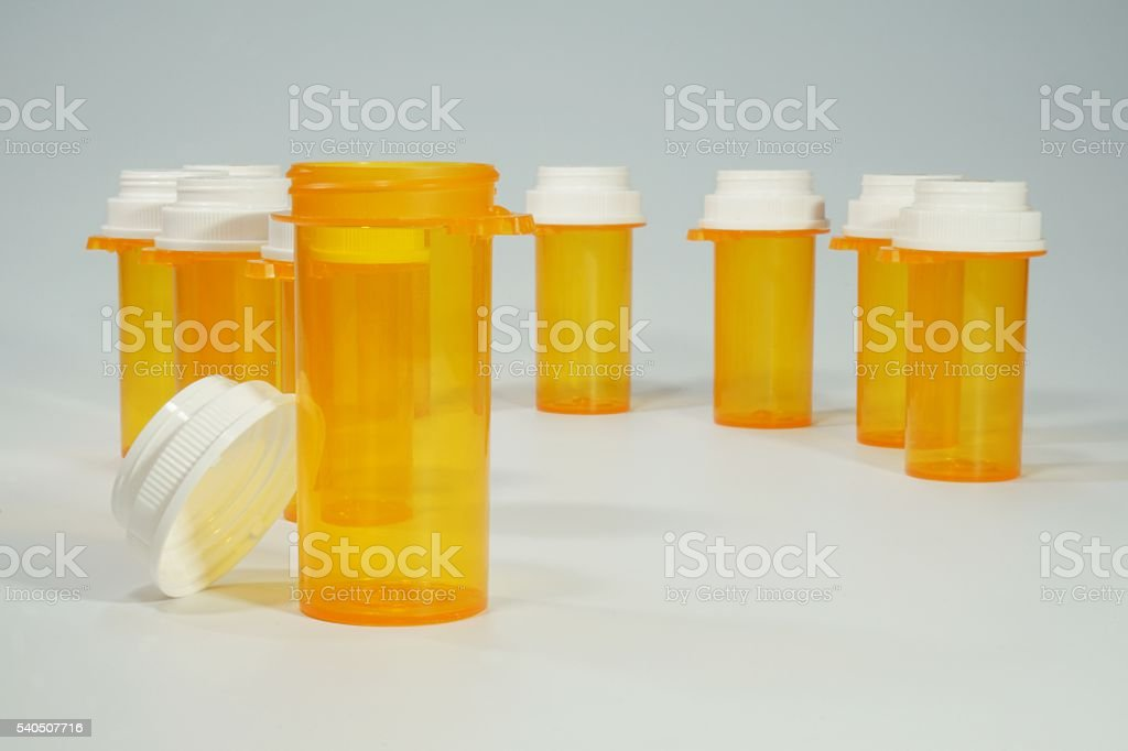 Prescription Medicine Bottles With Grey Background stock photo
