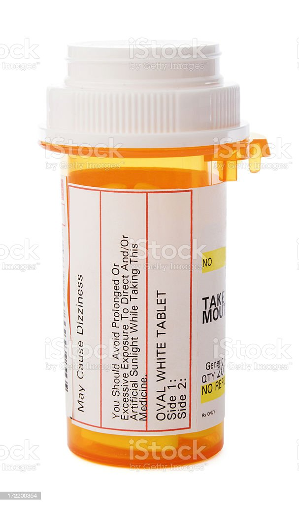 Prescription Medicine in Pill Bottle, Healthcare Drugs Isolated on White stock photo