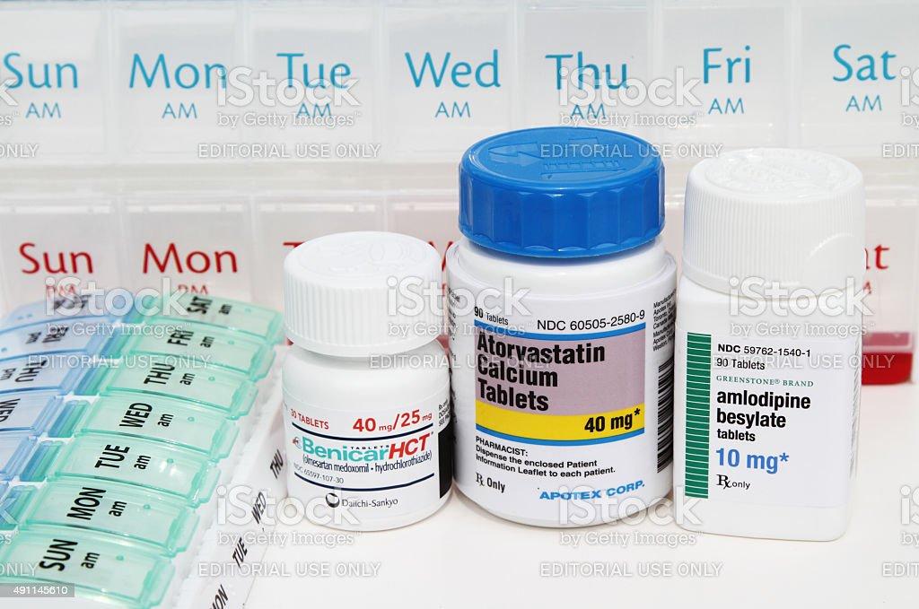 Prescription medicines: Benicar, Atorvastatin, Amlodipine stock photo