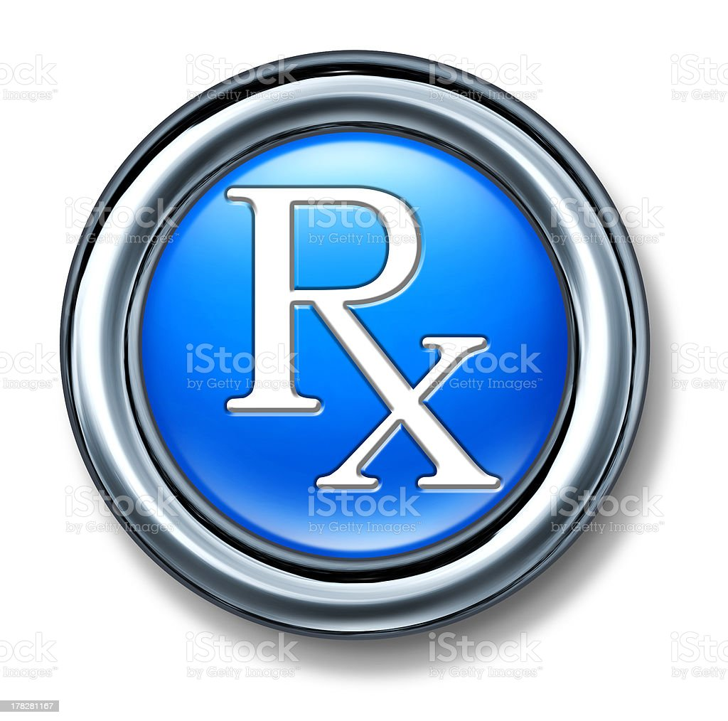 Prescription rx blue buton stock photo