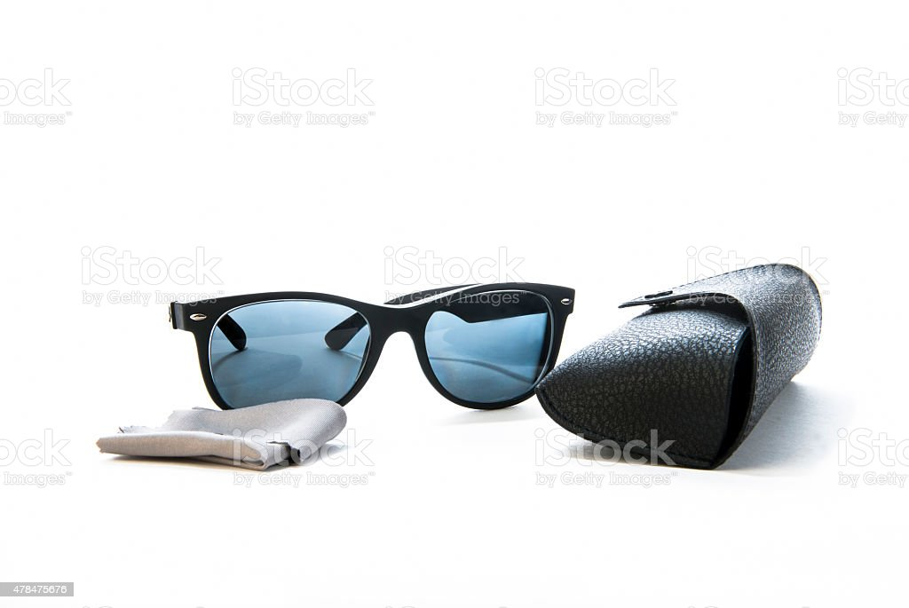 Prescription Sunglasses with Cleaning Cloth and Case stock photo