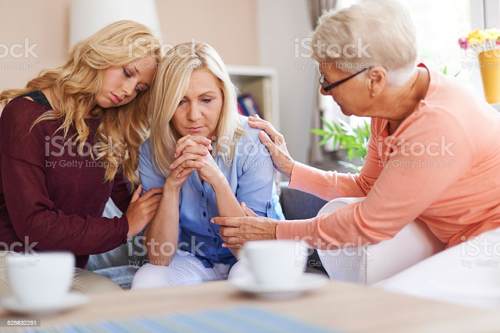Presence of family is the biggest support stock photo