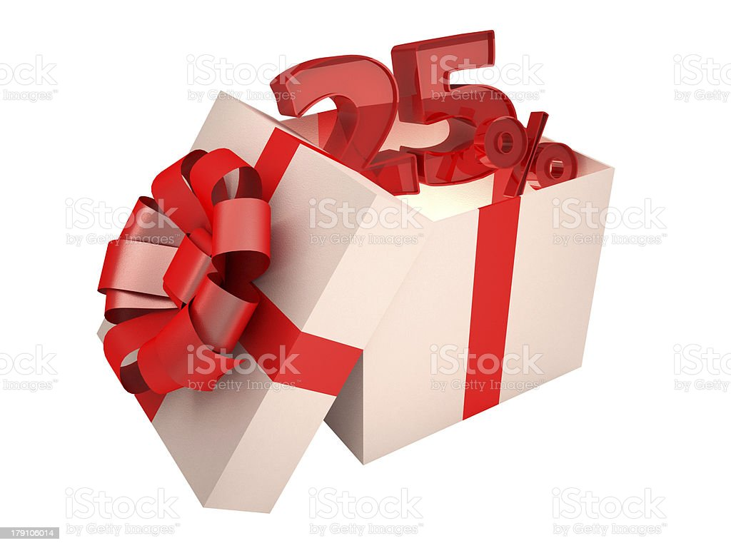 Present 25% royalty-free stock photo