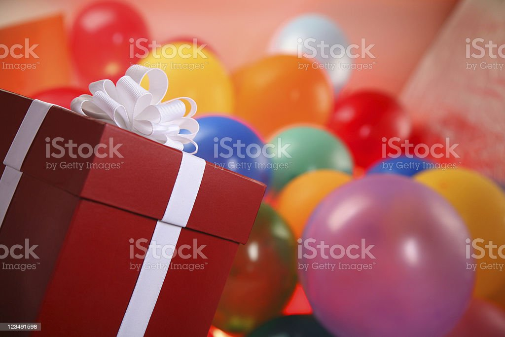 Present and Balloons at a Party royalty-free stock photo