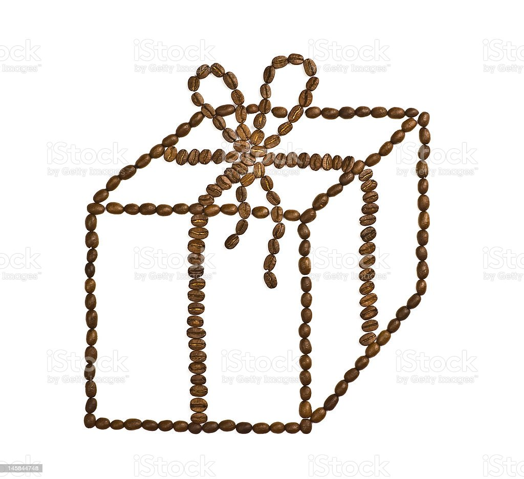 Present box made of coffee beans. royalty-free stock photo