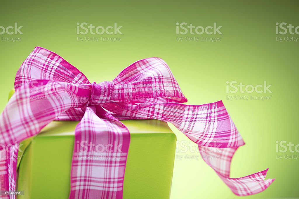 Present box on green royalty-free stock photo