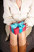 present box on woman knees