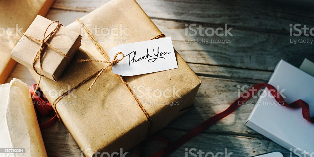 Present Gift Craft Twine Tag Concept stock photo