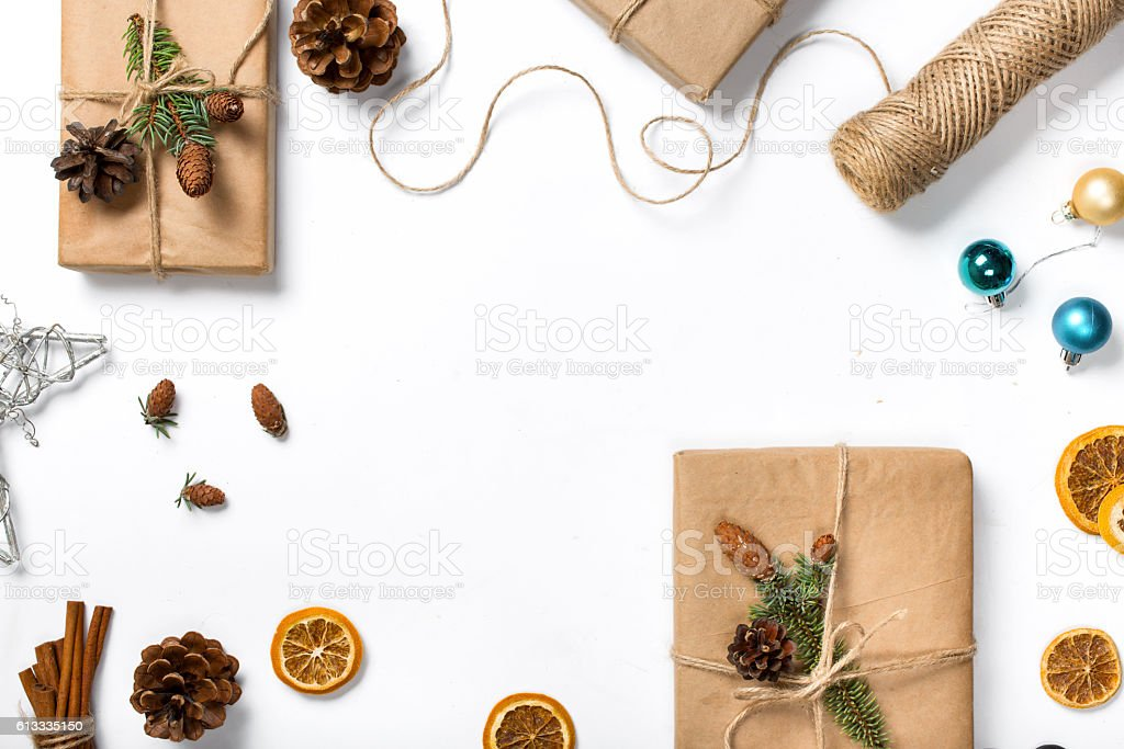 Present handmade with decorations on white background with copy stock photo