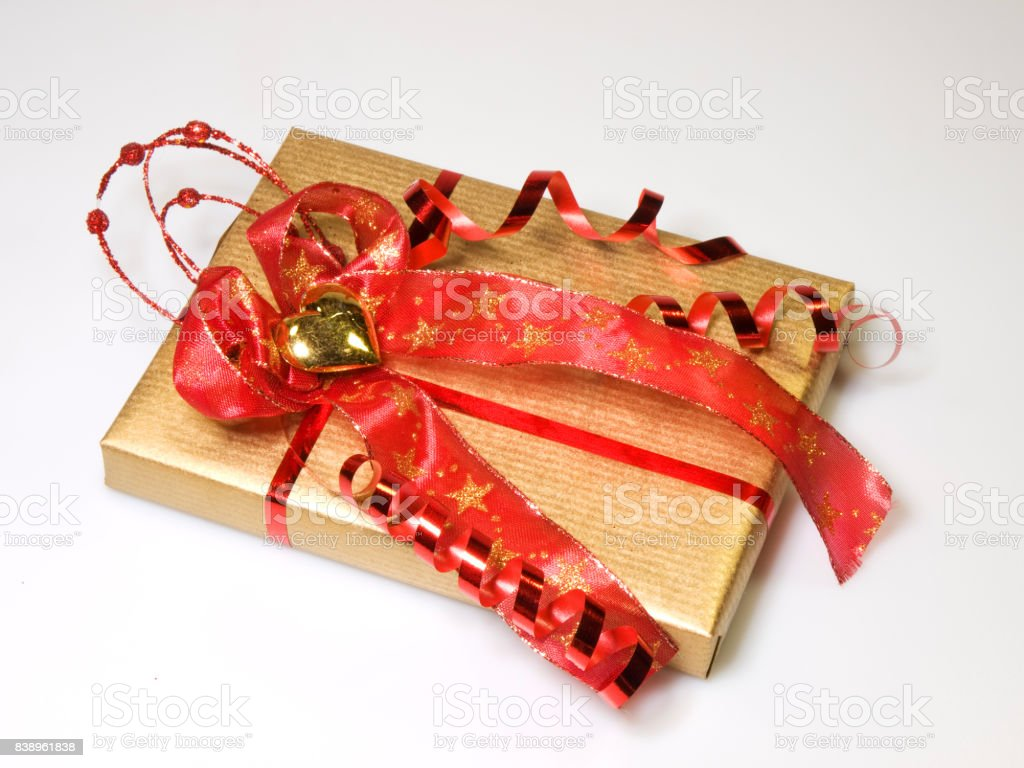 Present in gold and red stock photo