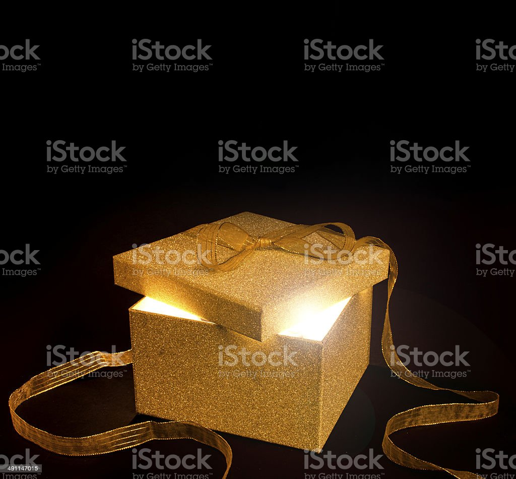 Present with light stock photo