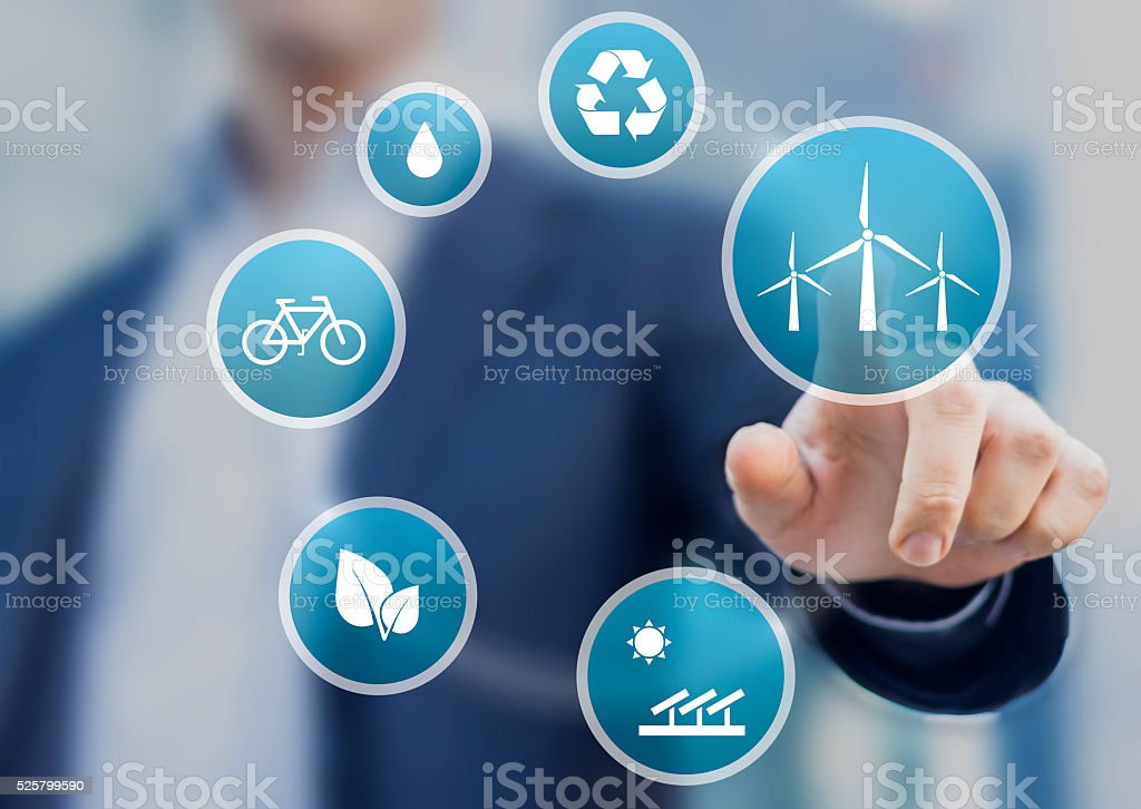 Presentation about renewable energy for a sustainable development stock photo