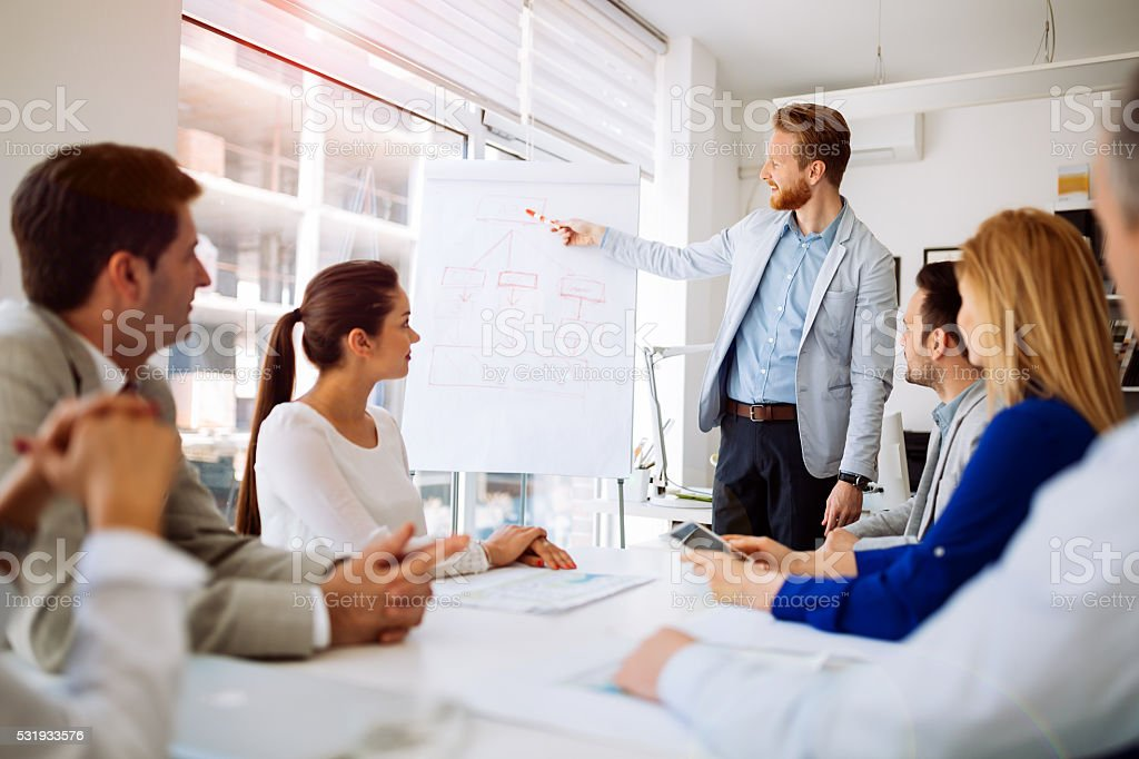 Presentation and collaboration by business people in office