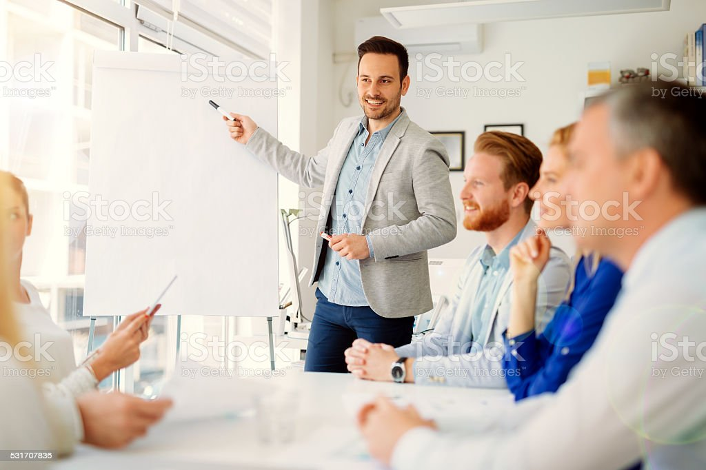 Presentation and training in business office stock photo
