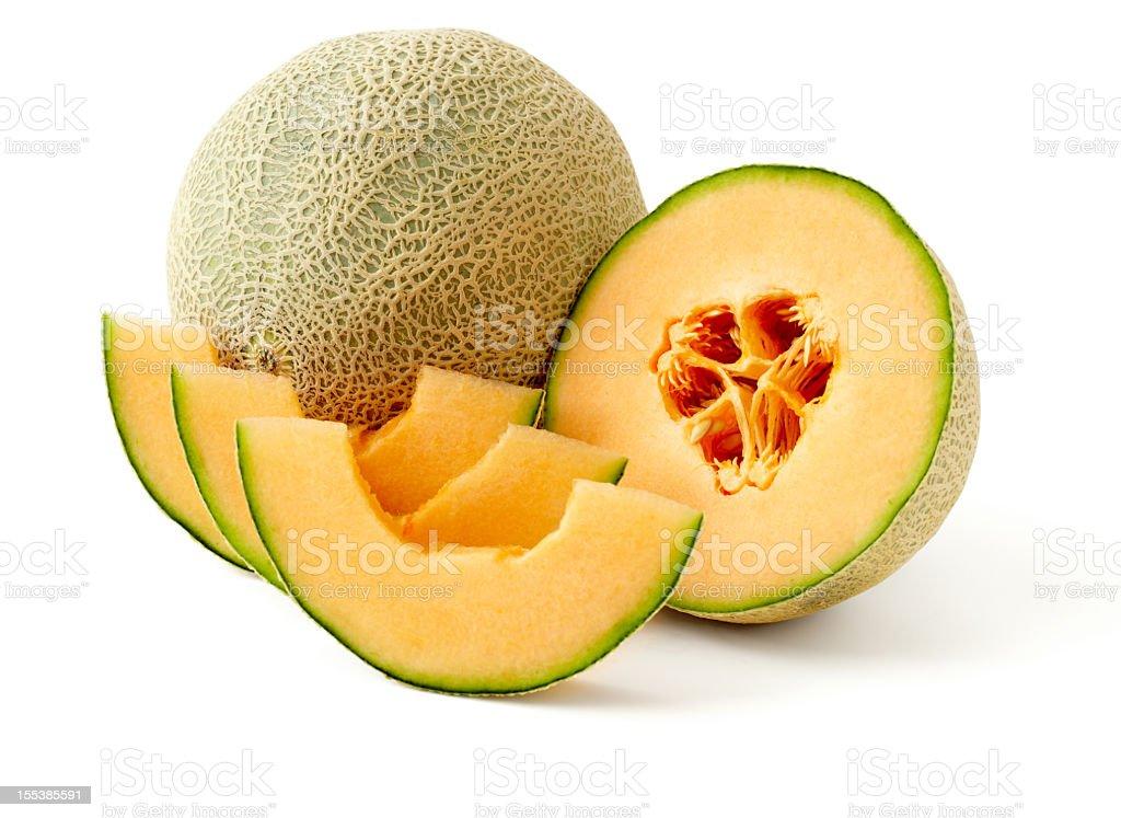 A presentation of cut up cantaloupe stock photo
