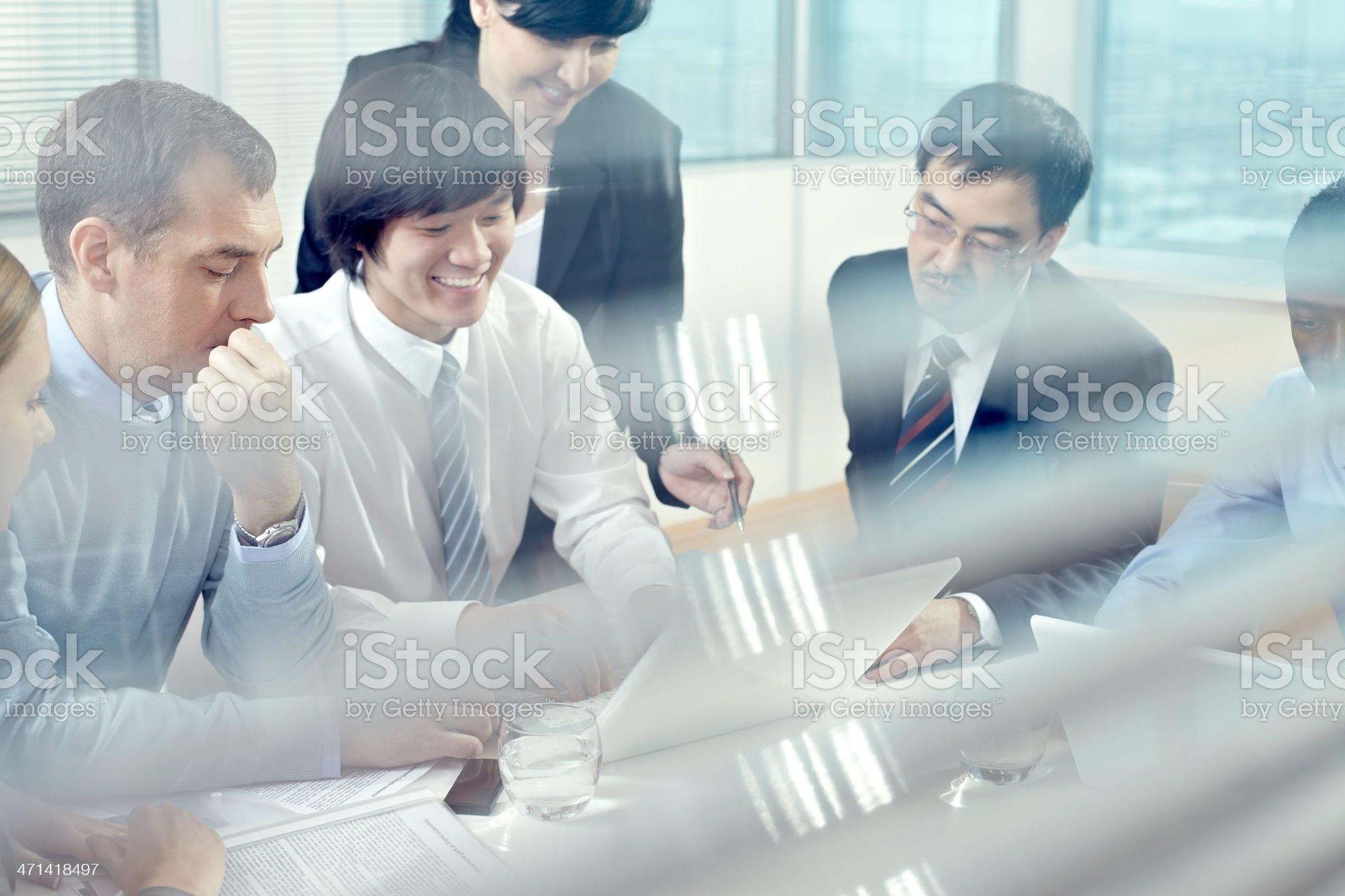 Presentation of new plan royalty-free stock photo