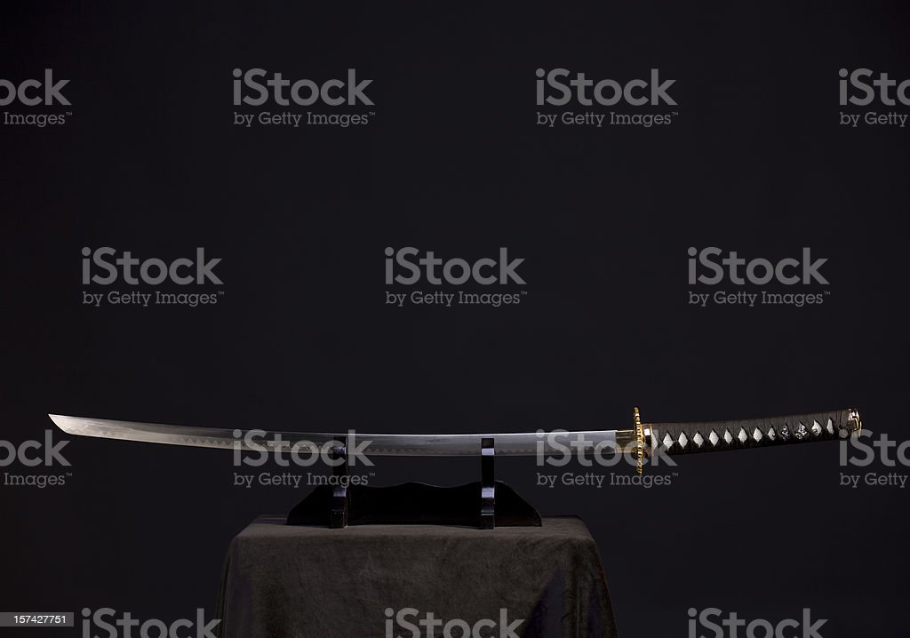 Presentation of the katana stock photo