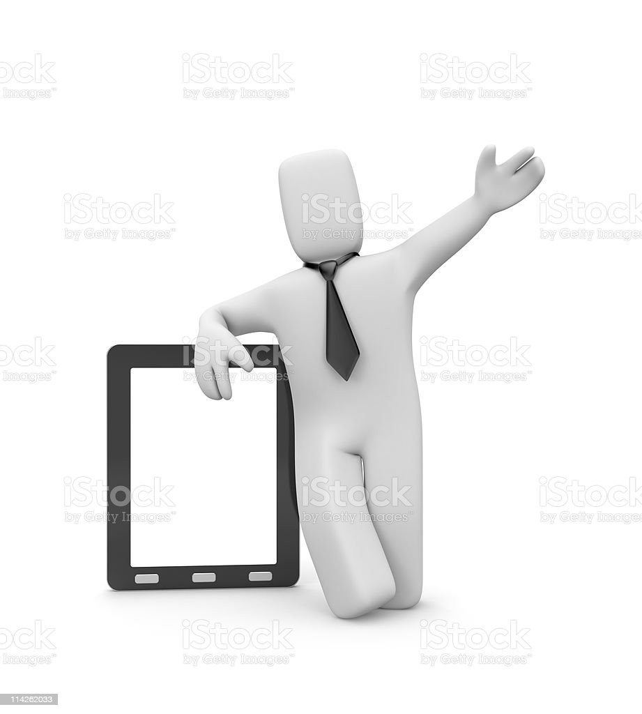 Presentation. Person with tablet pc royalty-free stock photo