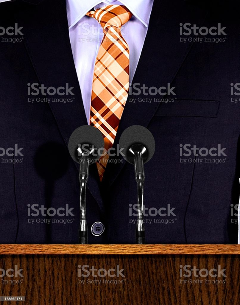 Presentation speech at a podium with microphones royalty-free stock photo