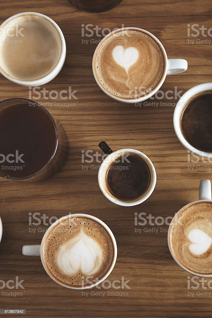 Presentation top view coffee beverages isolated on wooden table stock photo