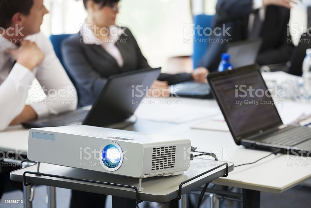 Presentation with lcd projector stock photo