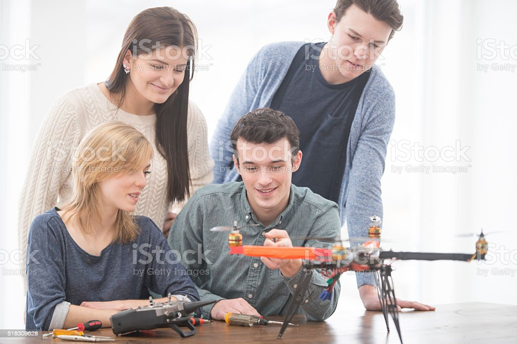 Presenting a Drone in Class stock photo
