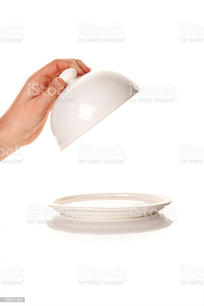 Presenting an empty tray royalty-free stock photo