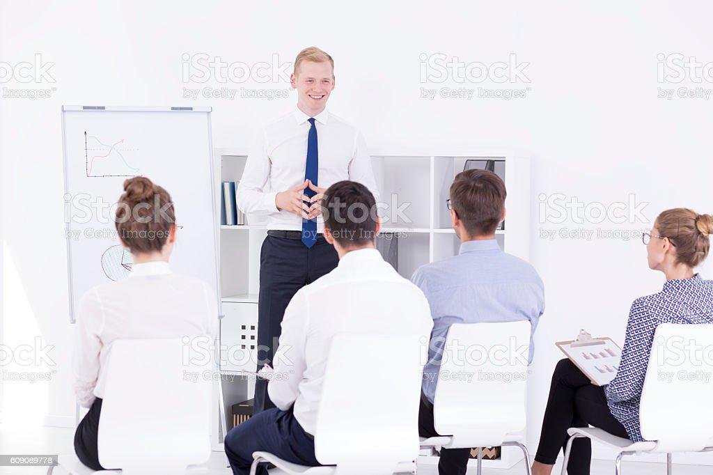 Presenting his brilliant ideas stock photo