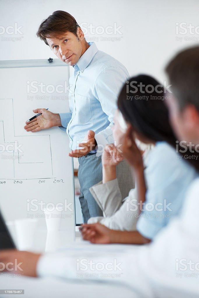 Presenting the future - Professional giving presentation stock photo