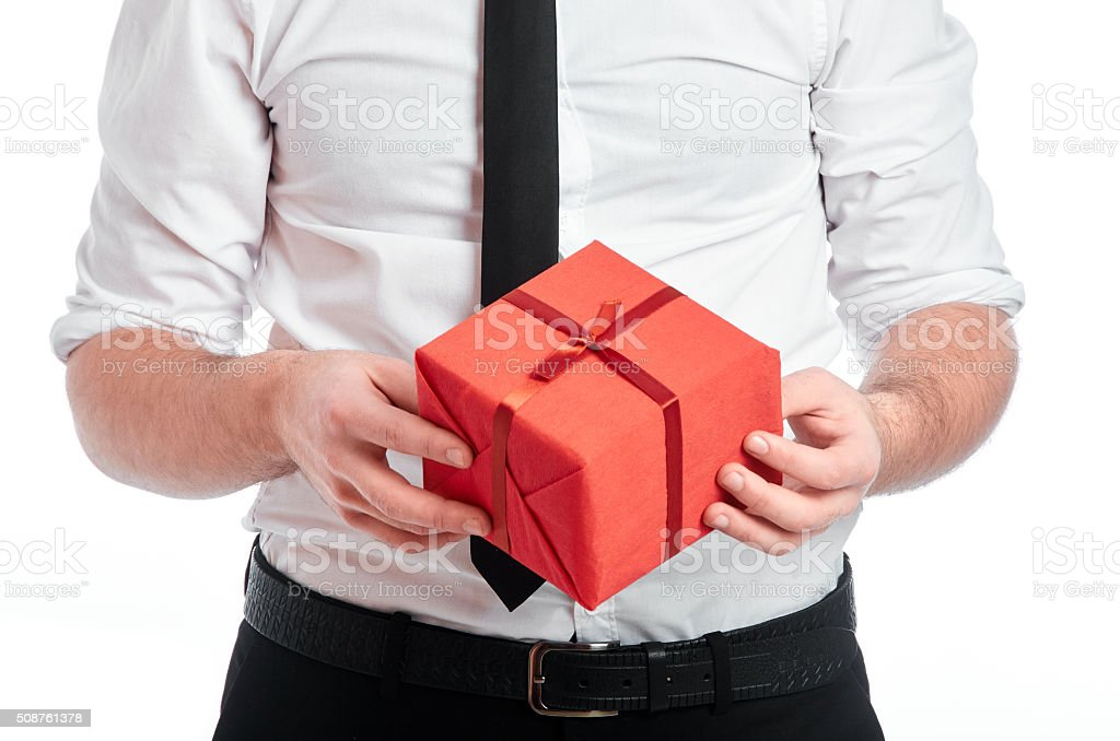 Presenting the gift stock photo