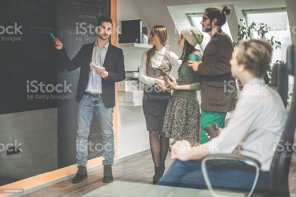 Presenting the software architecture stock photo