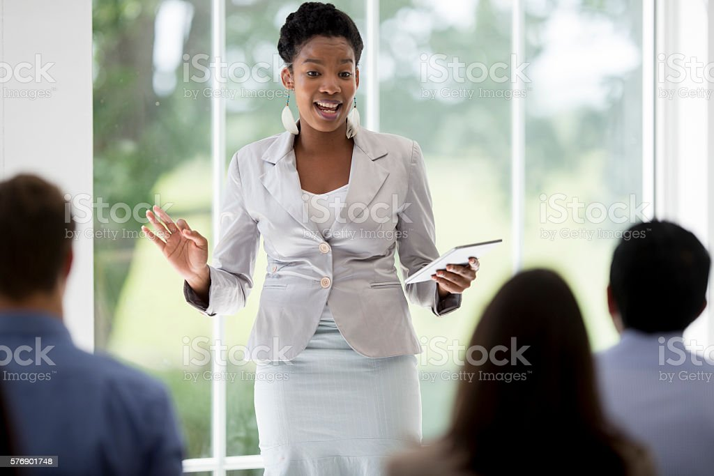 Presenting to Coworkers stock photo