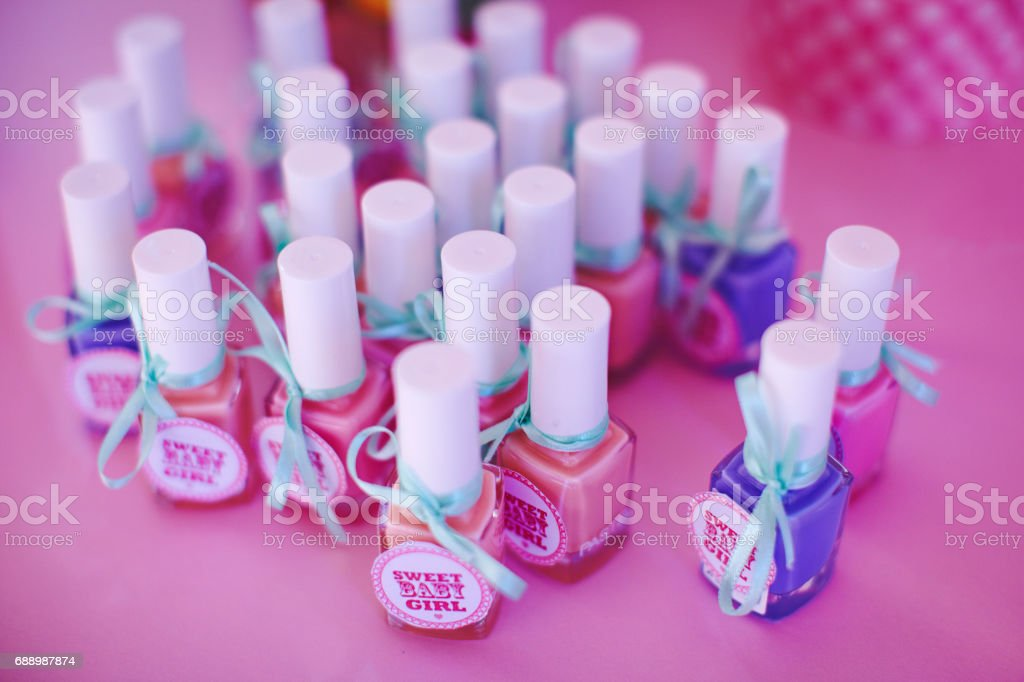 Presents for guests on baby shower celebration for small girl stock photo