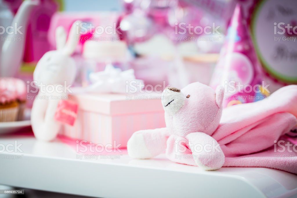 Presents on baby shower party stock photo