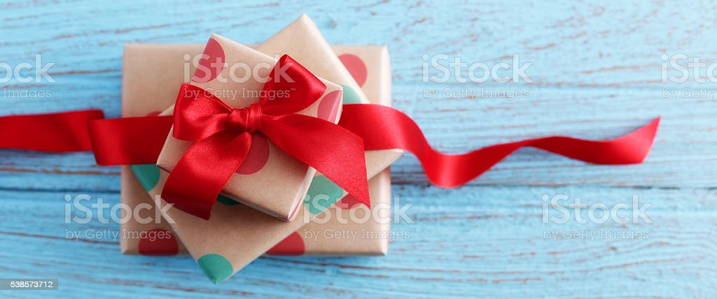 Presents on wood table stock photo