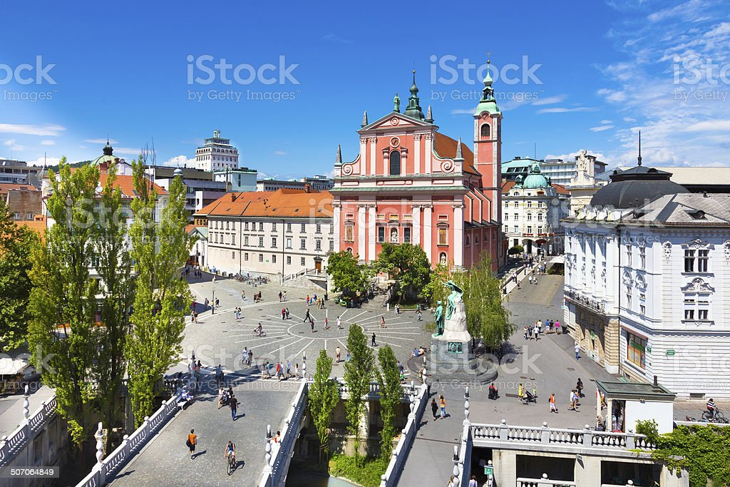 Preseren square, Ljubljana, capital of Slovenia. stock photo